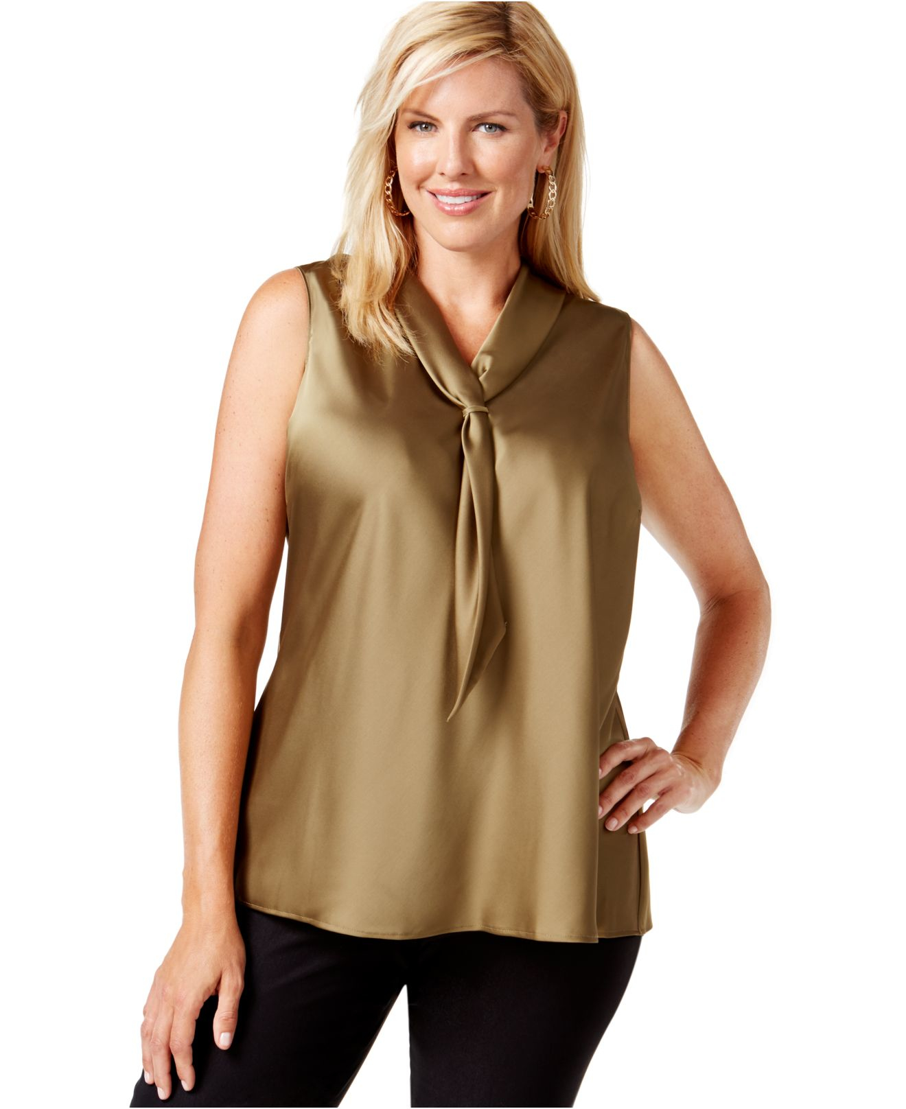 tahari plus size tie front blouse in green lyst
