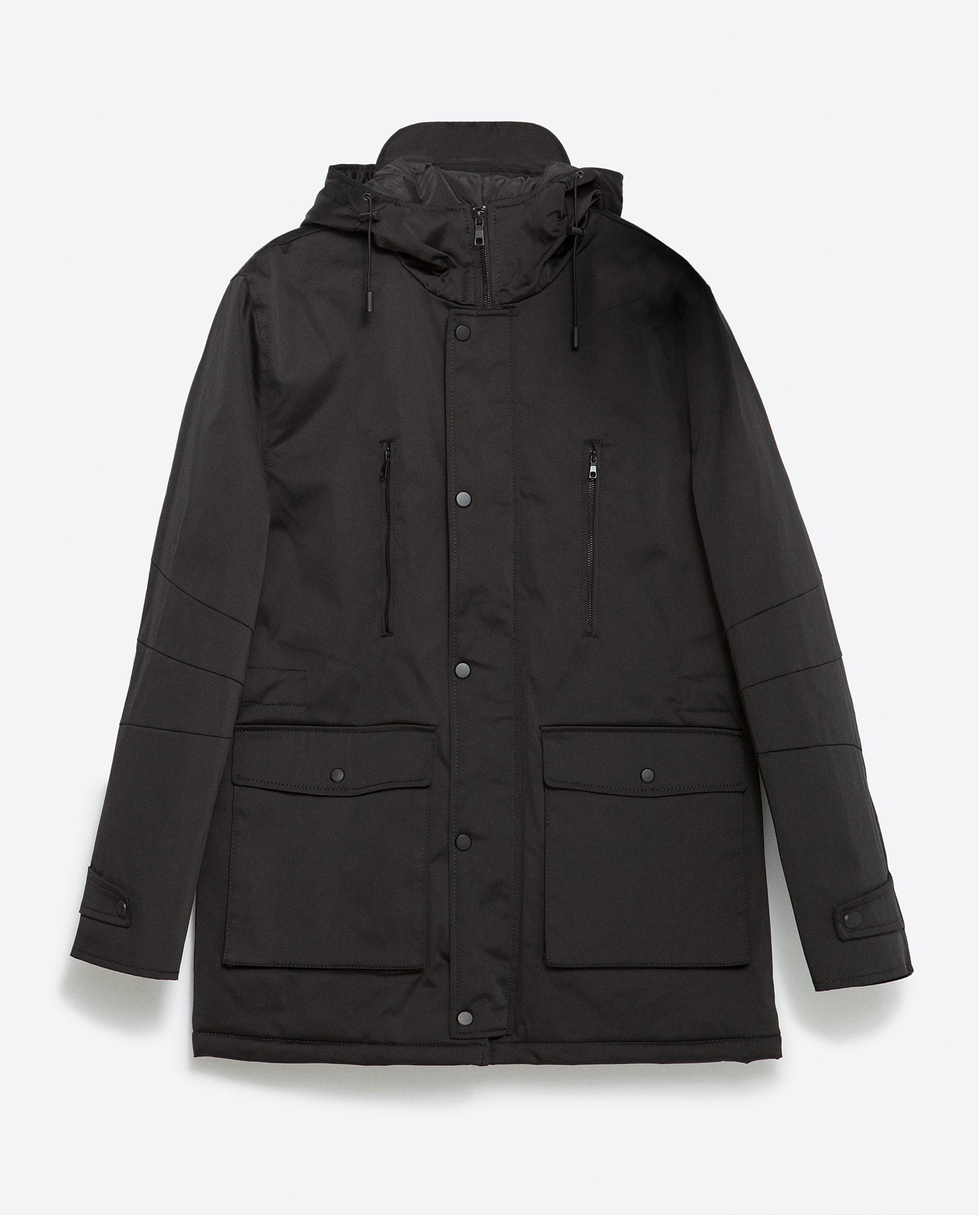 zara parka with pockets in black for men lyst. Black Bedroom Furniture Sets. Home Design Ideas