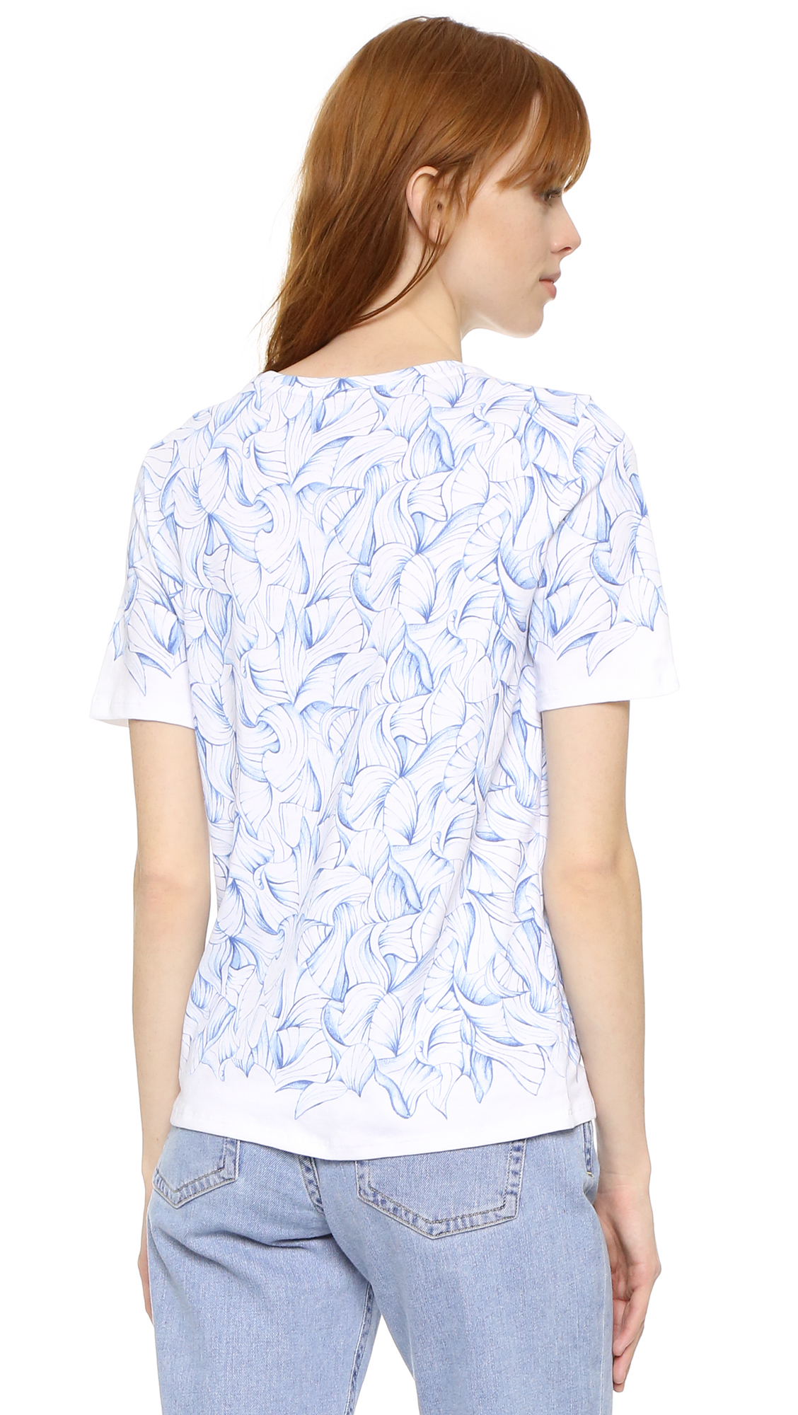 Tory burch libby tee shirt in white lyst for Tory burch t shirt