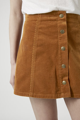 Topshop Petite Cord Button Front A-line Skirt in Brown | Lyst