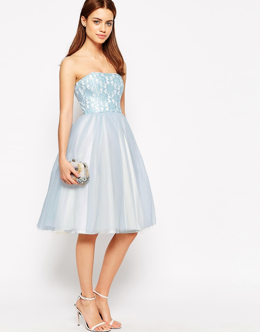 John Zack Bandeau Midi Prom Dress With Tulle Skirt In Blue