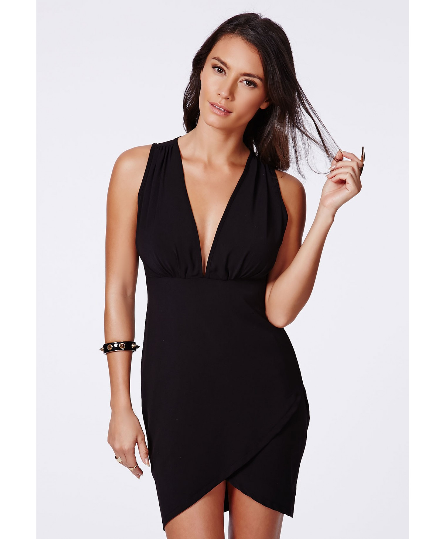 Missguided Vinea Black Plunge Neck Wrap Mini Dress Lyst