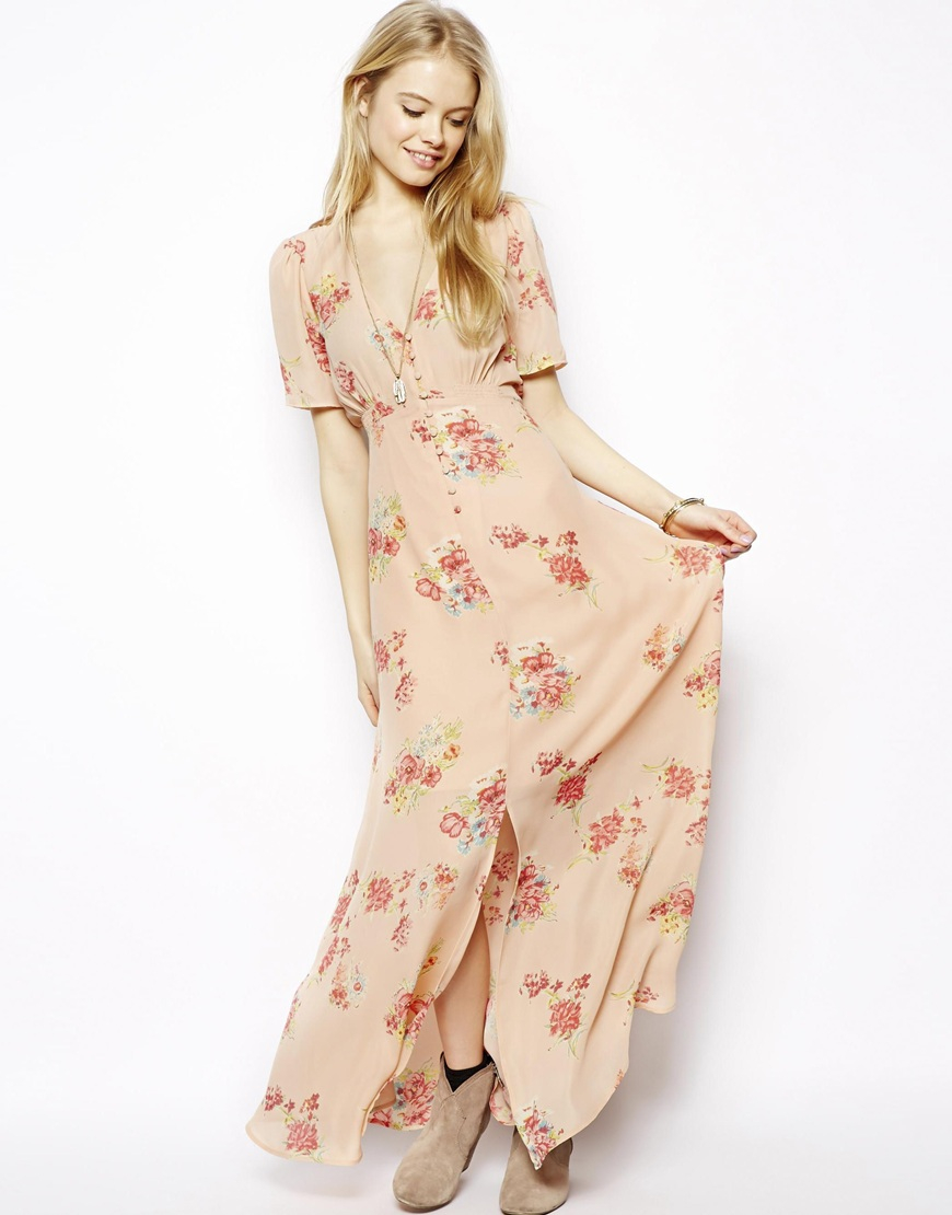 Lyst Asos Pretty Maxi Dress In Floral Print In Natural