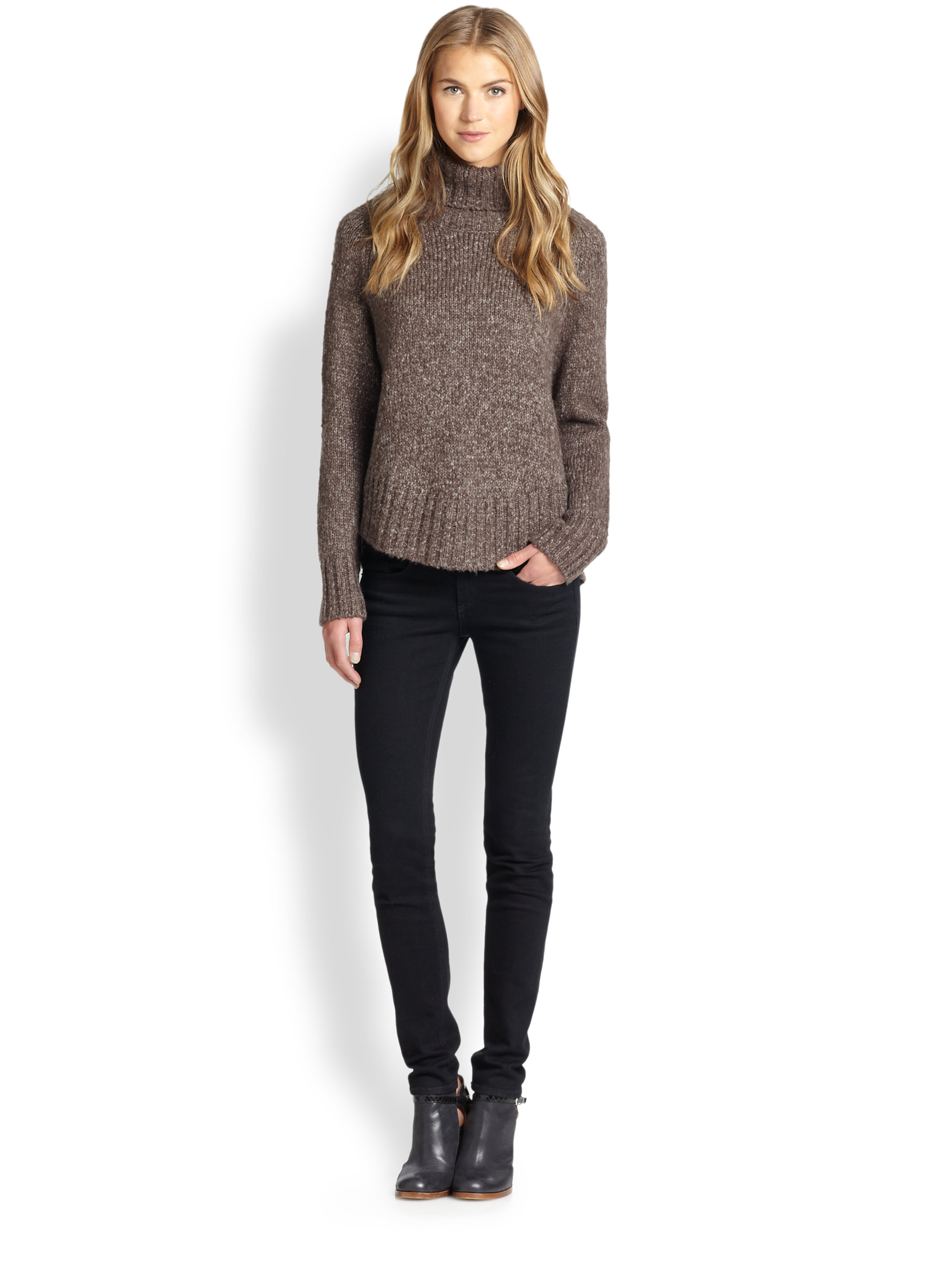 Feel the piece Kingsley Chunky-Knit Turtleneck Sweater in Brown | Lyst