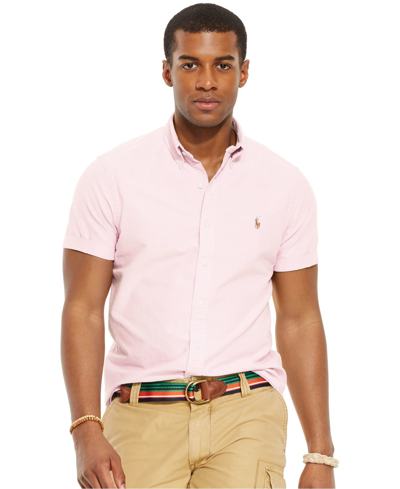 Polo ralph lauren short sleeved oxford shirt in pink for for Mens short sleeve oxford shirt