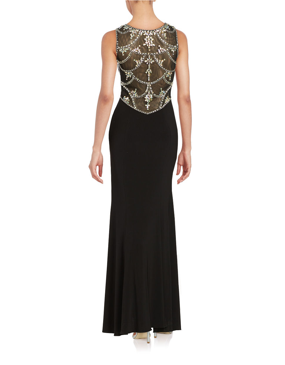 Betsy Amp Adam Embellished Gown In Black Lyst