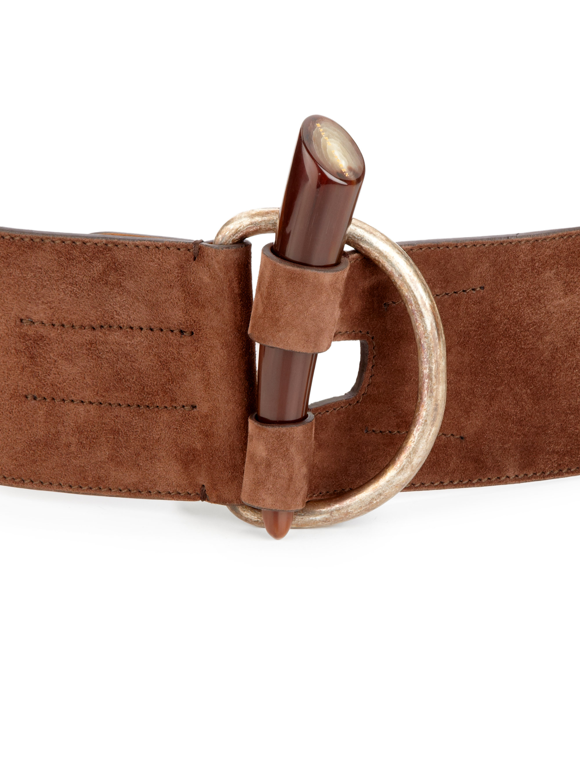 ralph horn toggle suede belt in brown lyst
