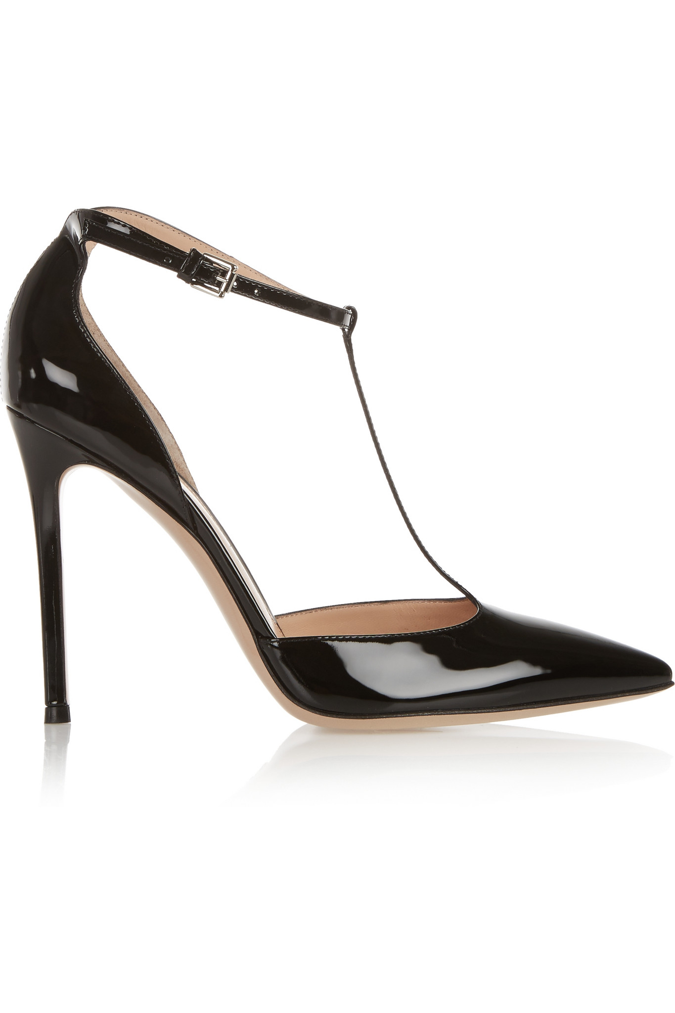 ed37ba360baf9 Gianvito Rossi Patent-leather T-bar Pumps in Black - Lyst