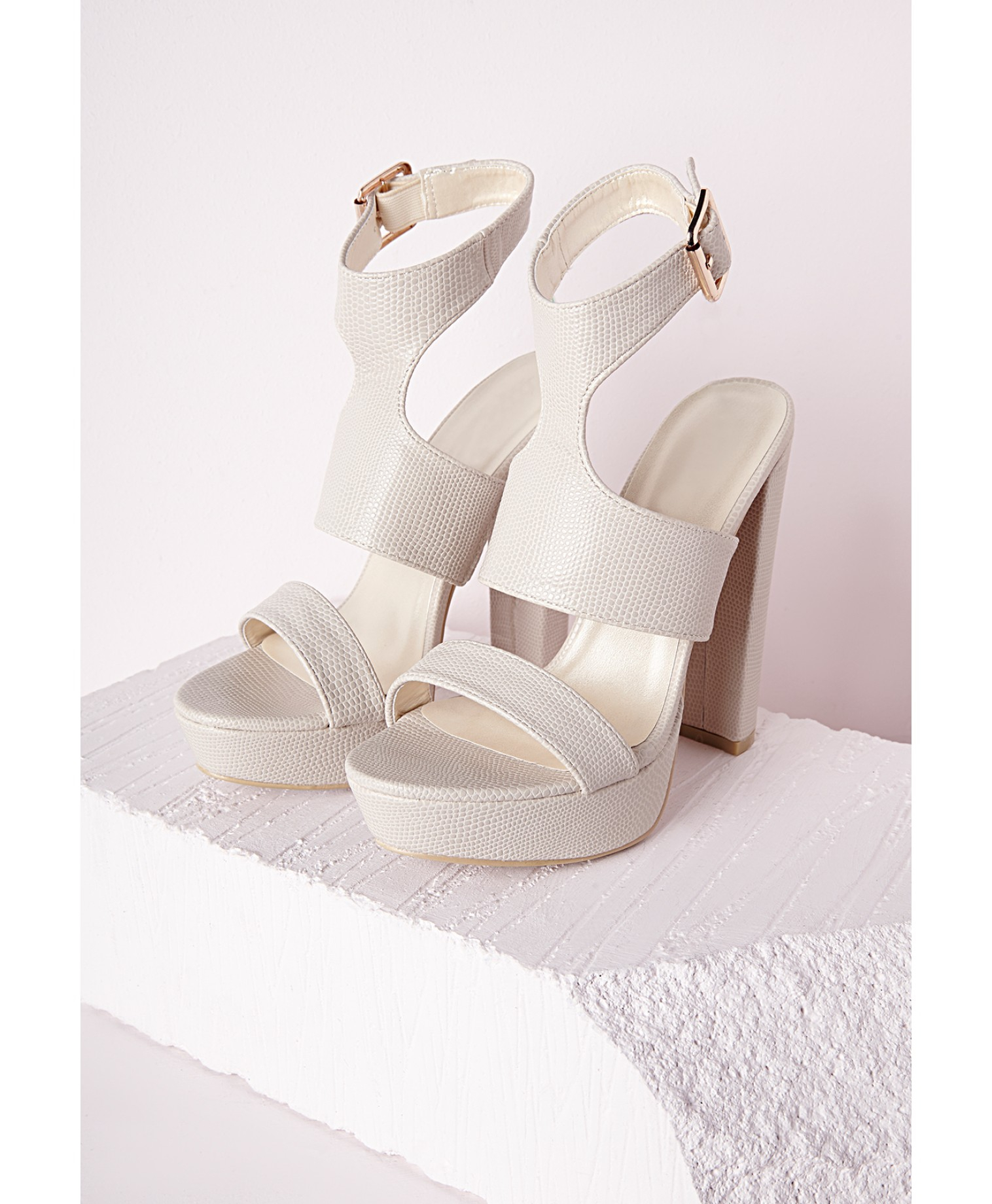 a2e3cf42d1a Lyst - Missguided Platform Ankle Strap Heeled Sandals Nude in Natural