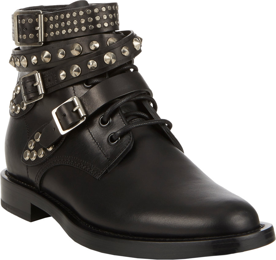 Fantastic Saint Laurent Jodhpur Black Leather Ankle Strap Boot Women