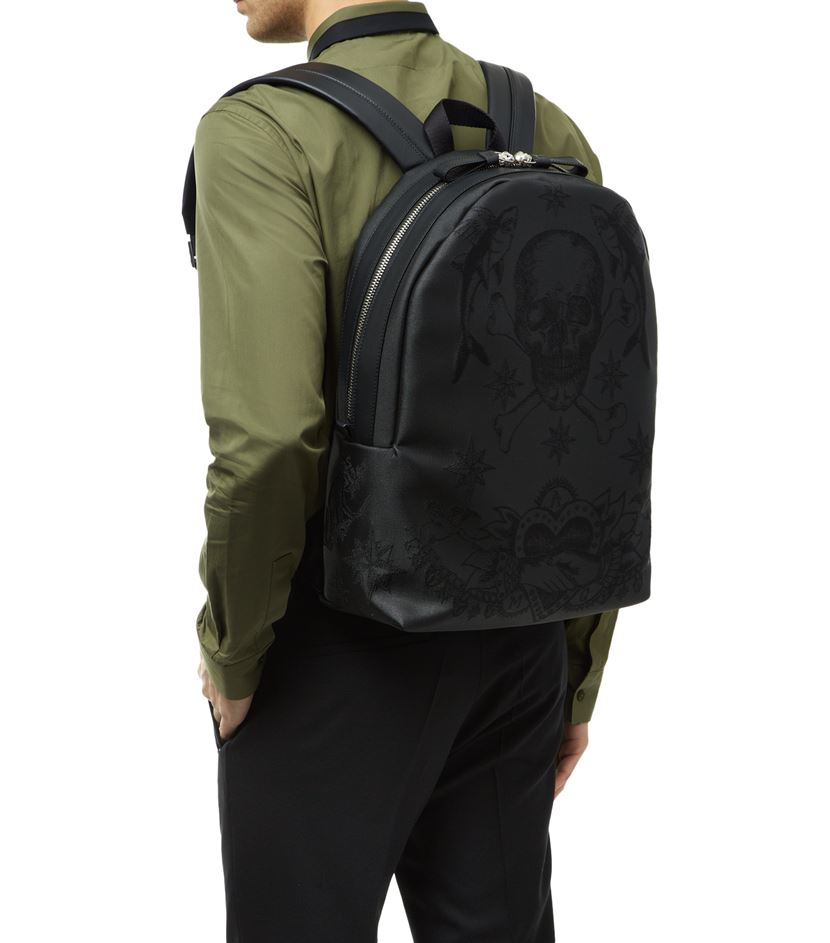 Alexander McQueen Leather Embroidered Skull Tattoo Backpack in Black for Men
