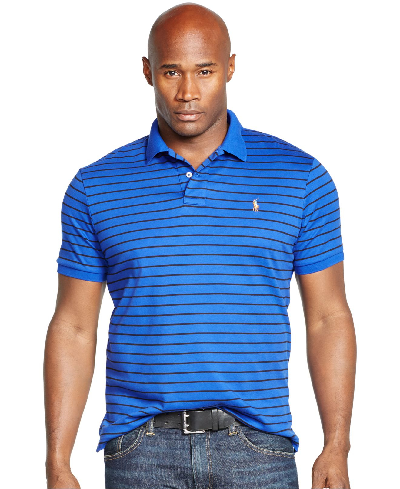 Polo ralph lauren blue big and tall striped pima soft for Big and tall polo rugby shirts