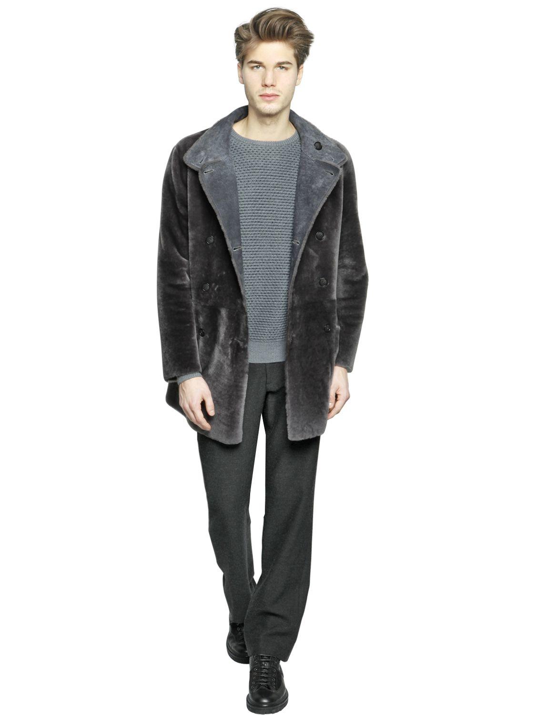 8c743958 Giorgio Armani Gray Reversible Wool Shearling Coat for men