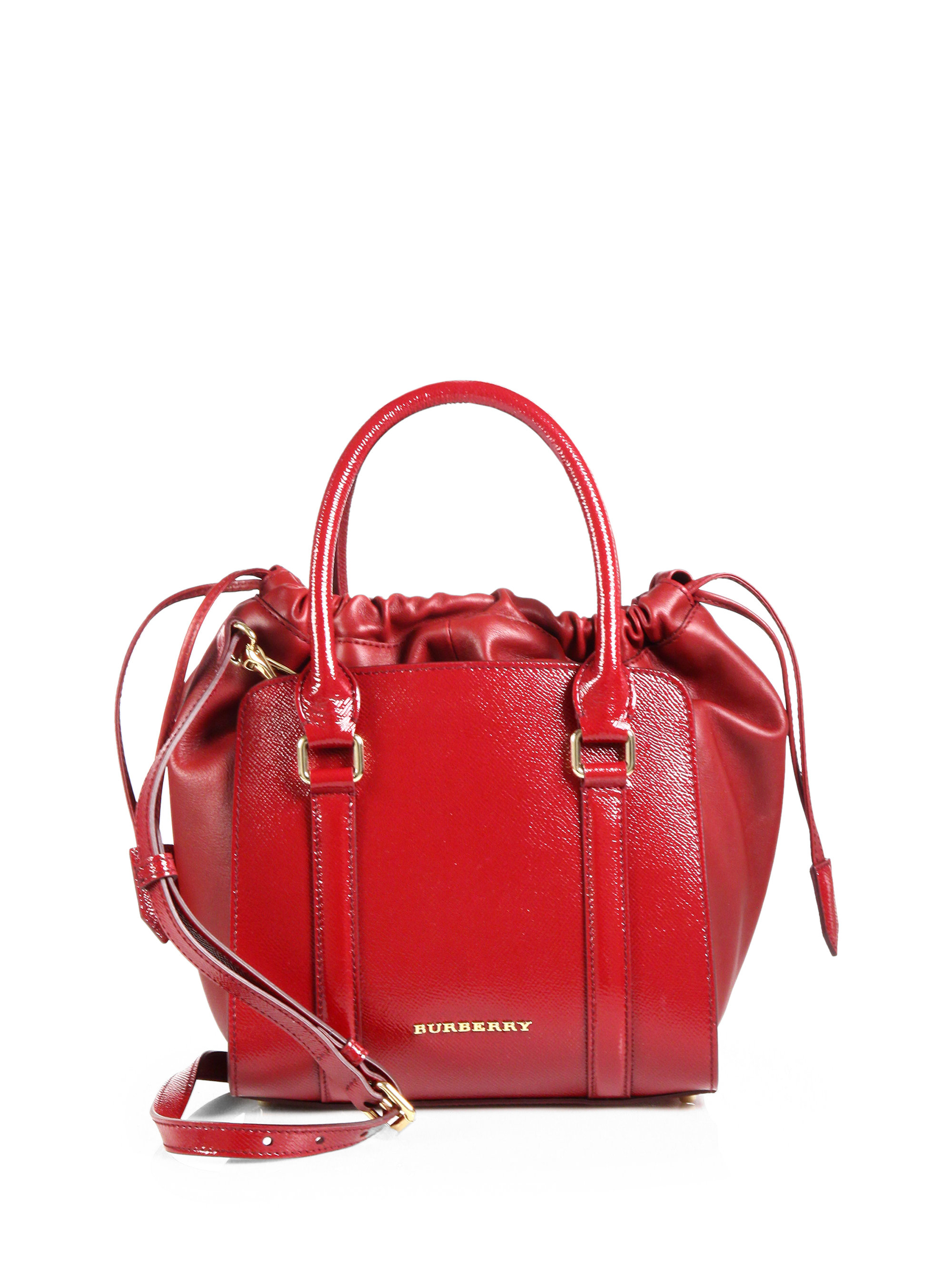 24afb9d1eba4f Lyst - Burberry Dinton Small London Leather Tote in Red