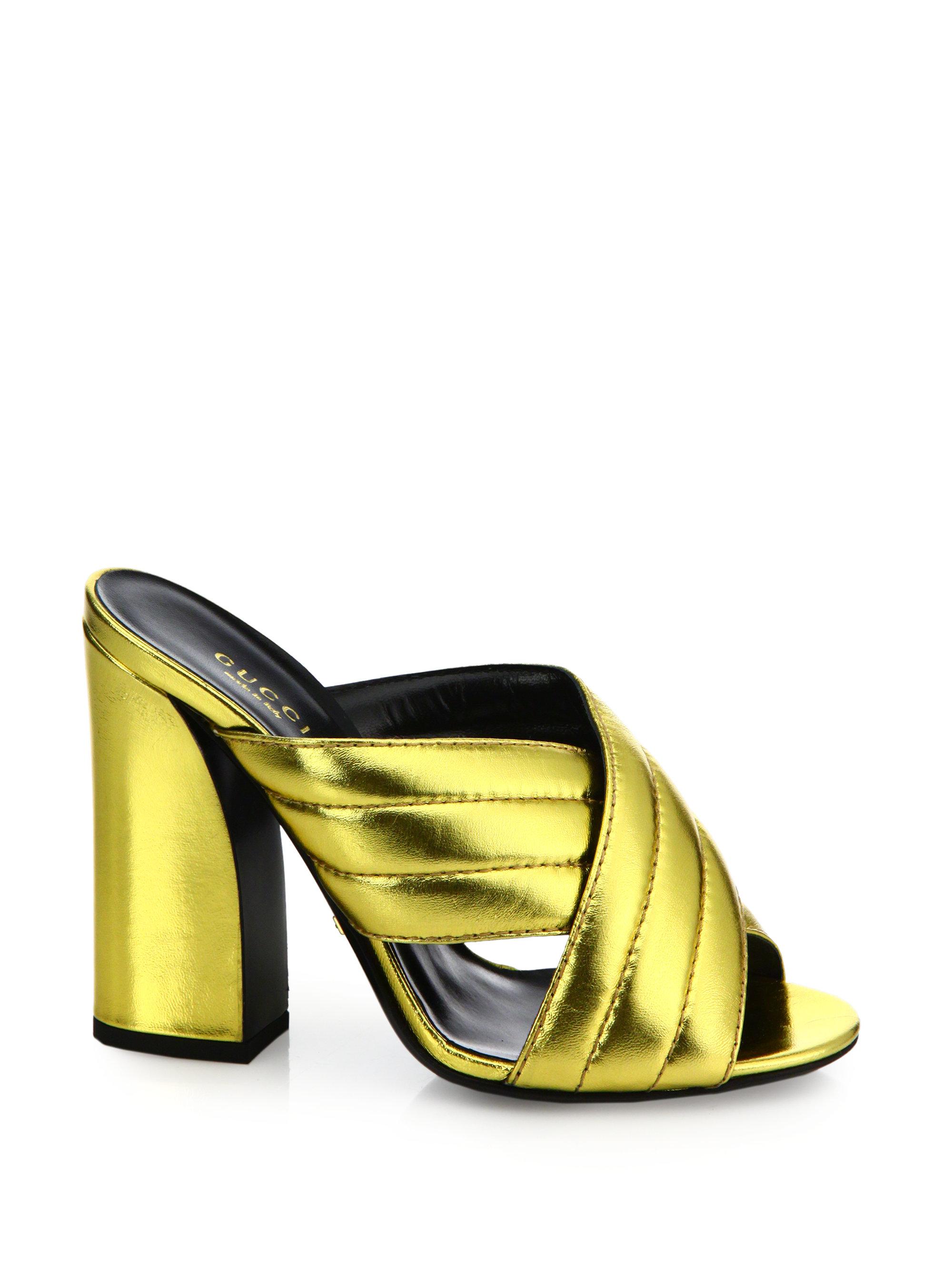 d4040e9e281 Lyst - Gucci Webby Metallic Leather Block-heel Mules in Metallic