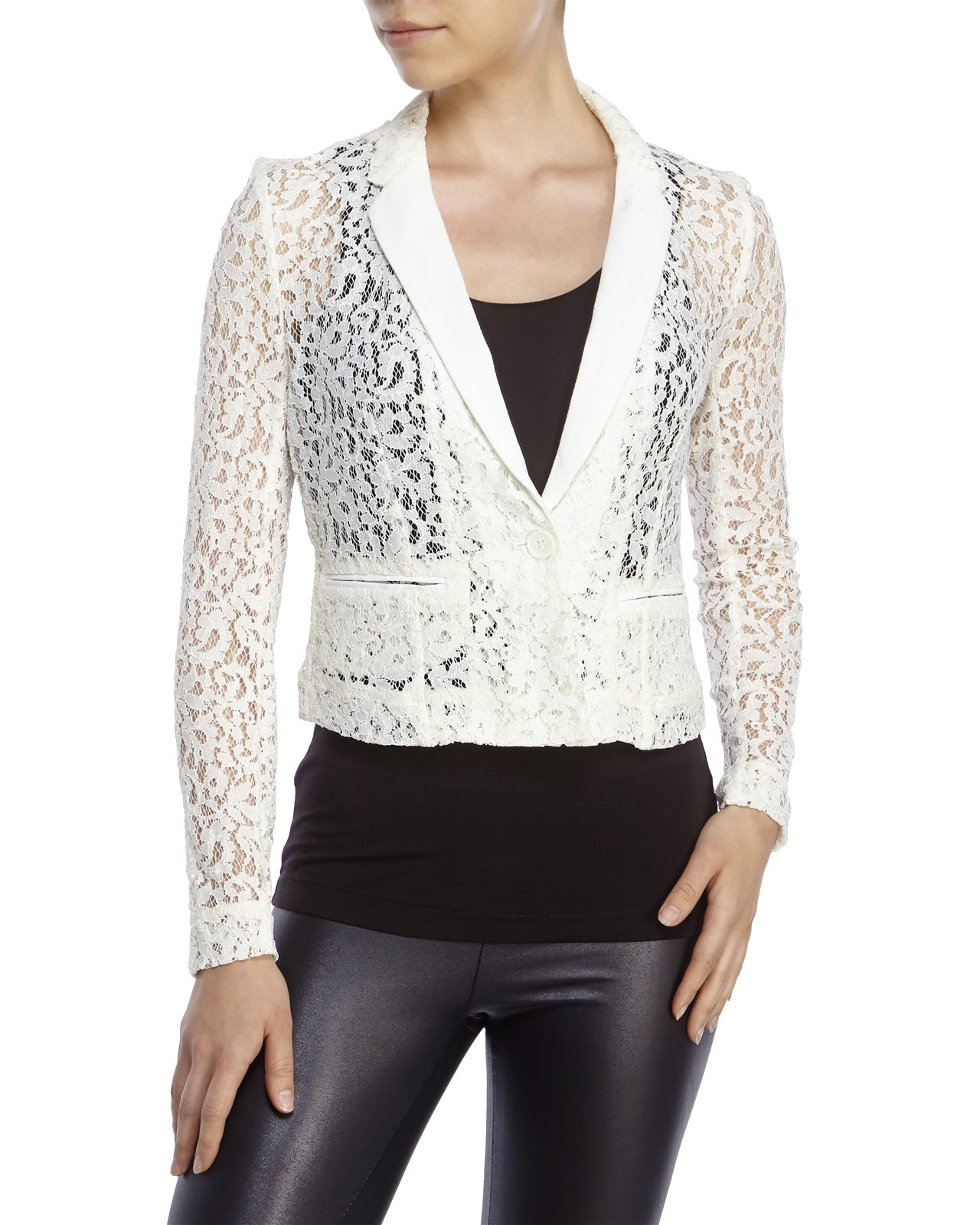 Philosophy Petite Cropped Lace Blazer in White | Lyst