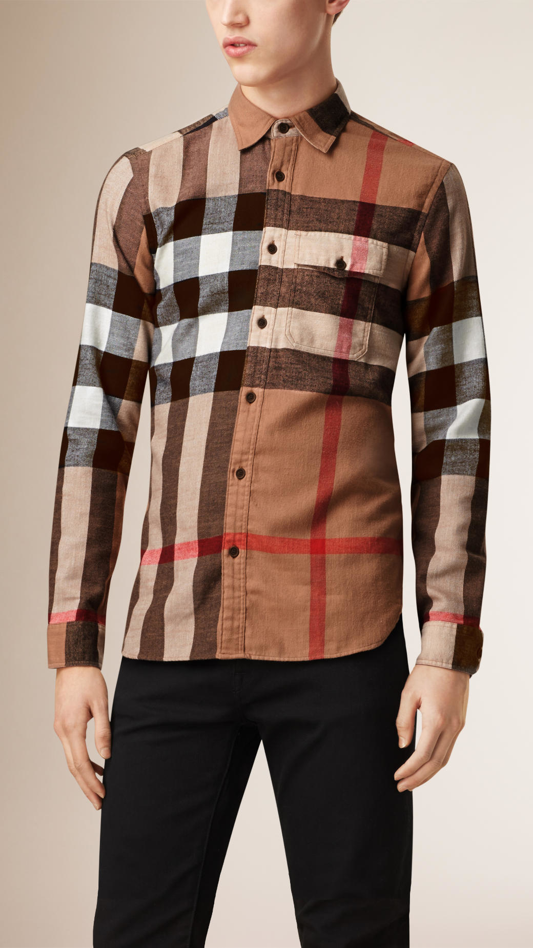 Burberry Exploded Check Cotton Flannel Shirt Camel In