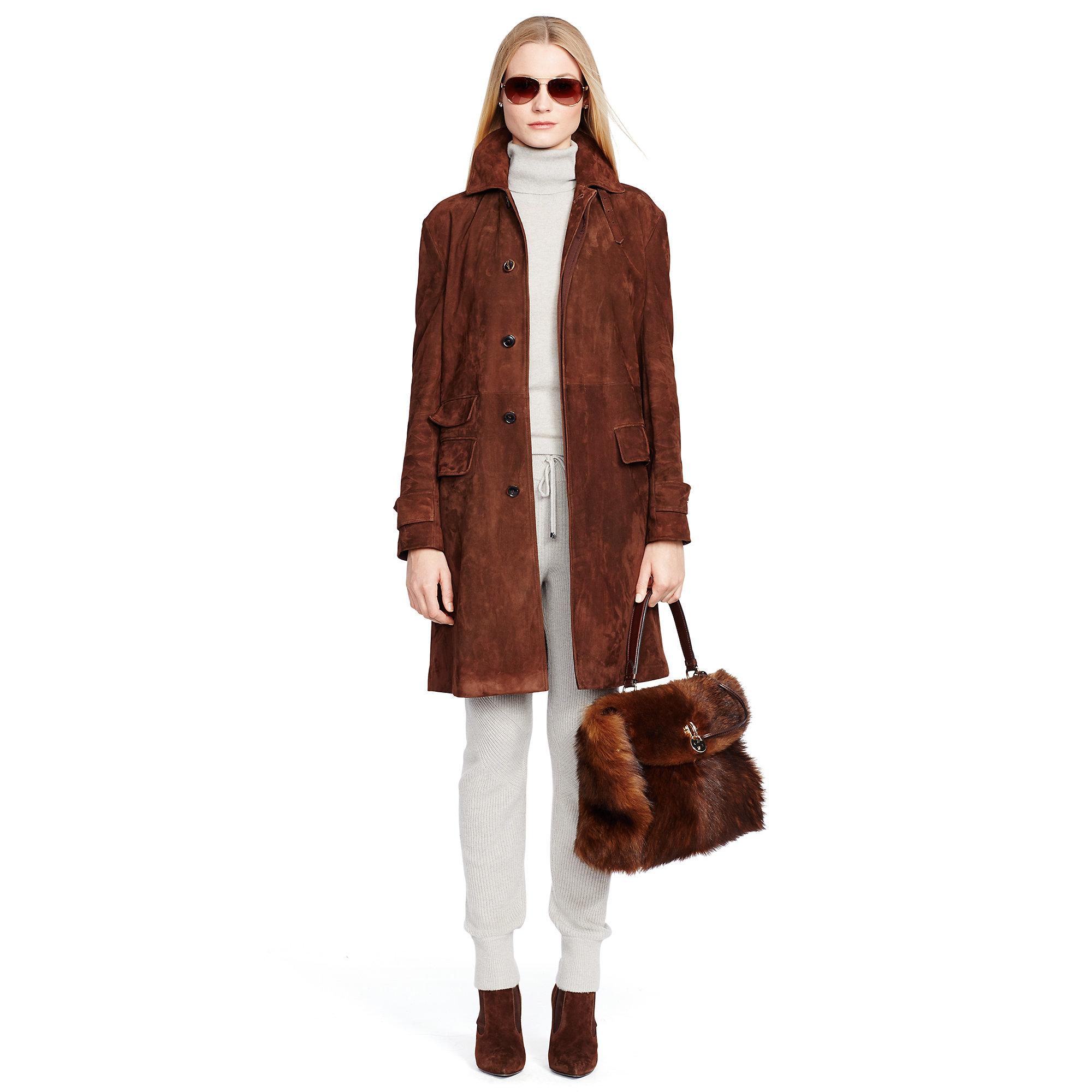 Ralph lauren black label Stockard Suede Coat in Brown | Lyst