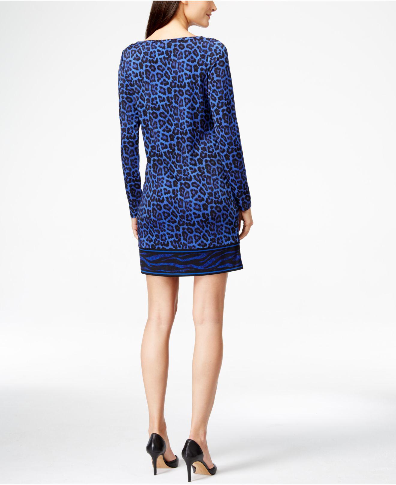 Lyst Michael kors Michael Long sleeve Animal print Dress