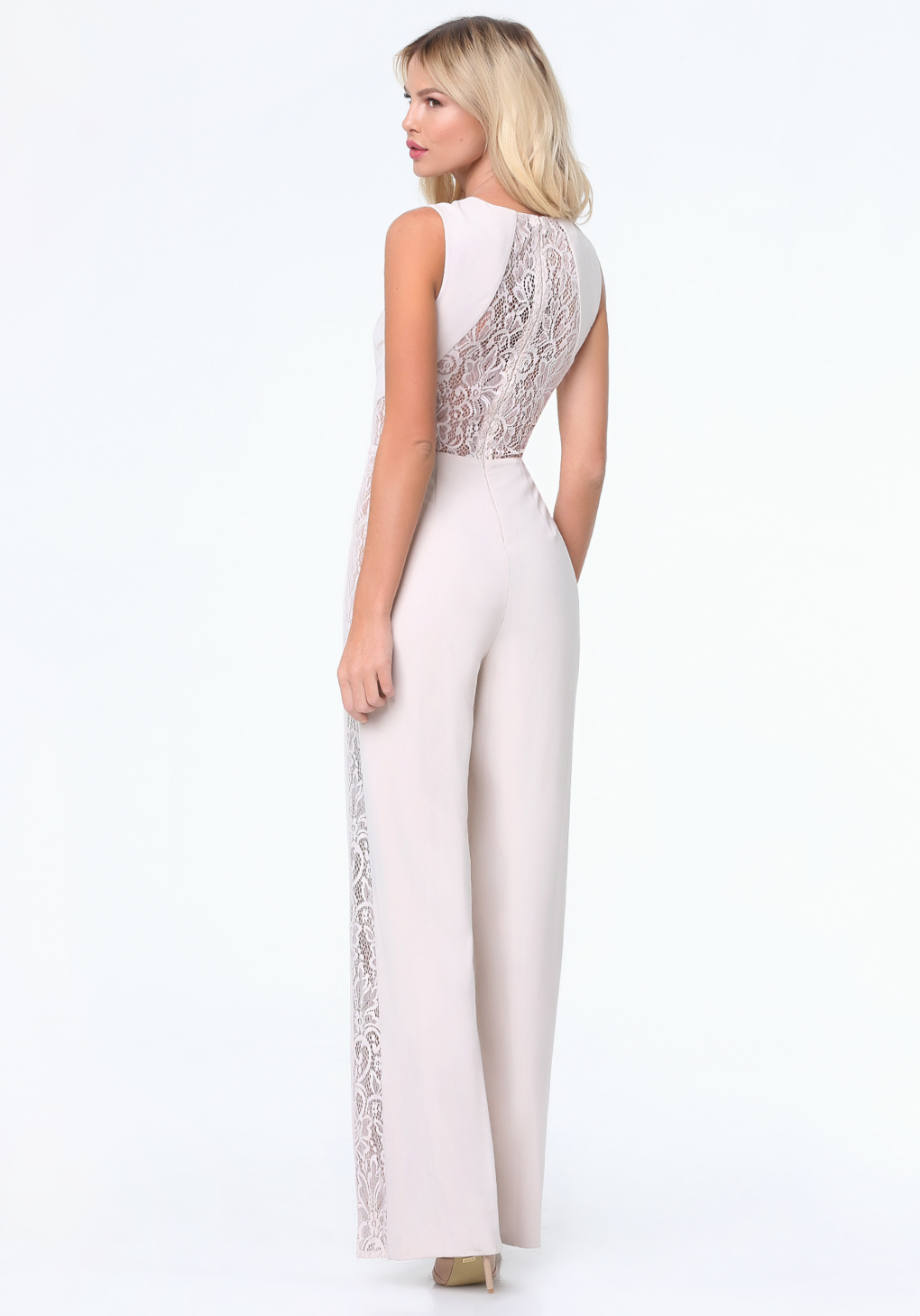 05a86538cf6 Bebe Lace Panel Jumpsuit in White - Lyst