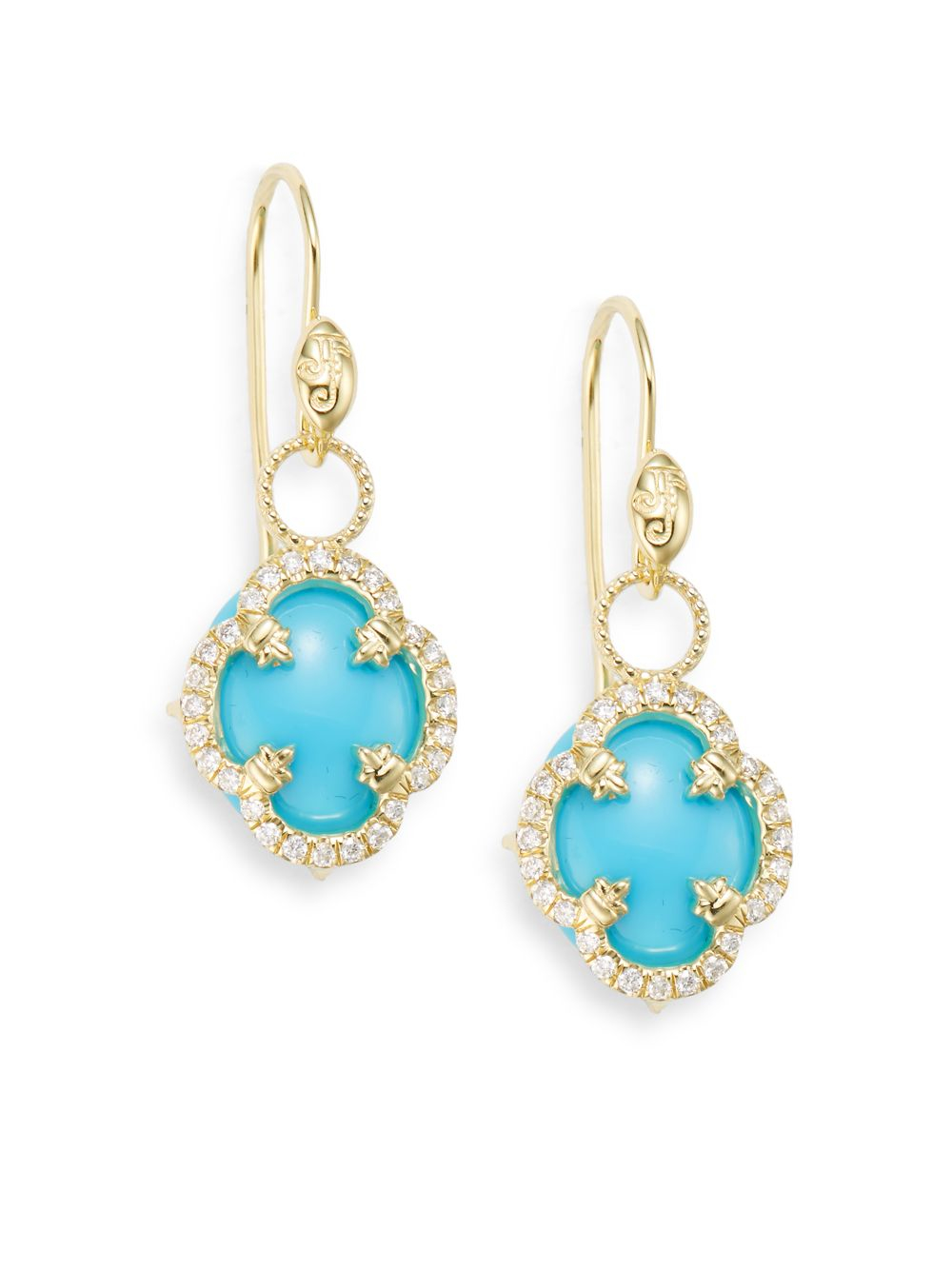 Jude Frances Moroccan 18k White Gold Turquoise/Diamond Drop Earrings RVDRGykV16