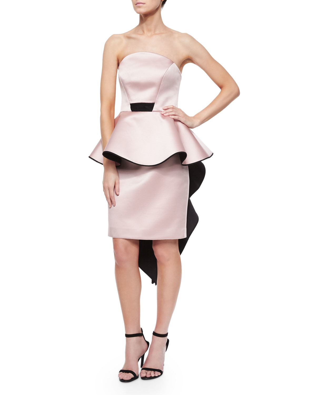 Lyst - Milly Adeline Strapless Peplum Cocktail Dress in Pink