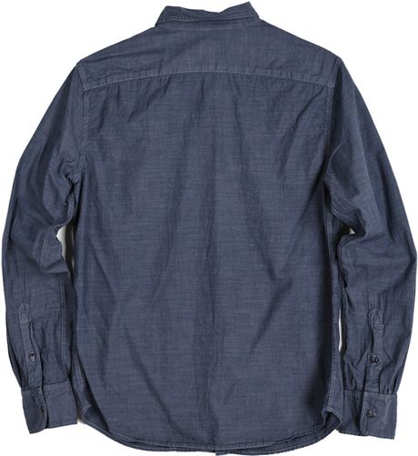 Save khaki chambray button down shirt in blue for men lyst for Khaki button up shirt