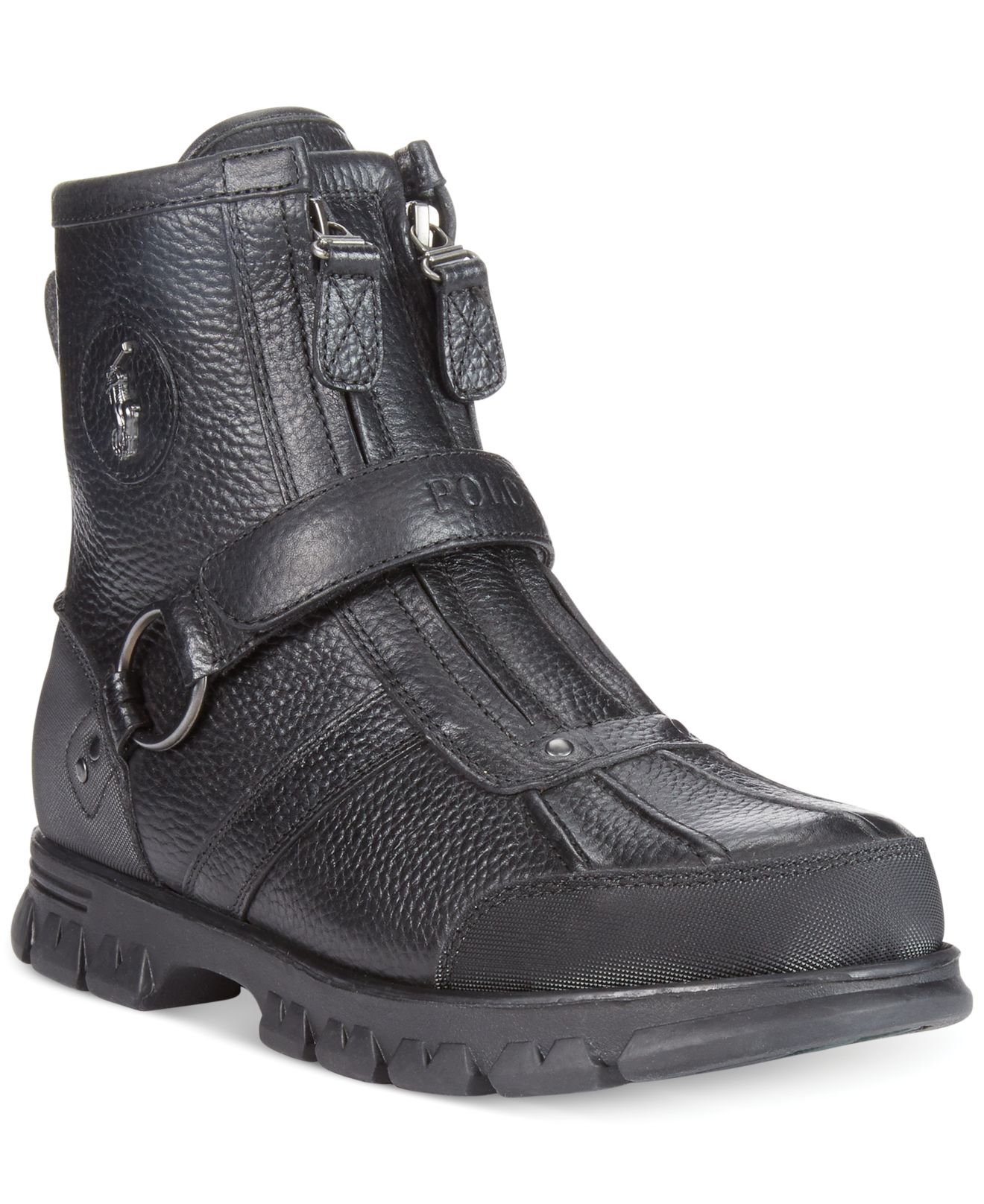 polo ralph lauren conquest iii high duck boots in black for men lyst. Black Bedroom Furniture Sets. Home Design Ideas