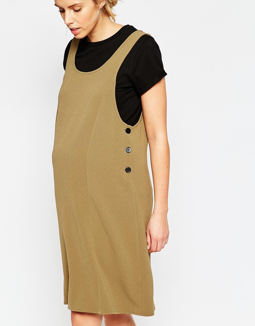 Lyst asos maternity pinafore midi dress in texture in brown gallery ombrellifo Choice Image