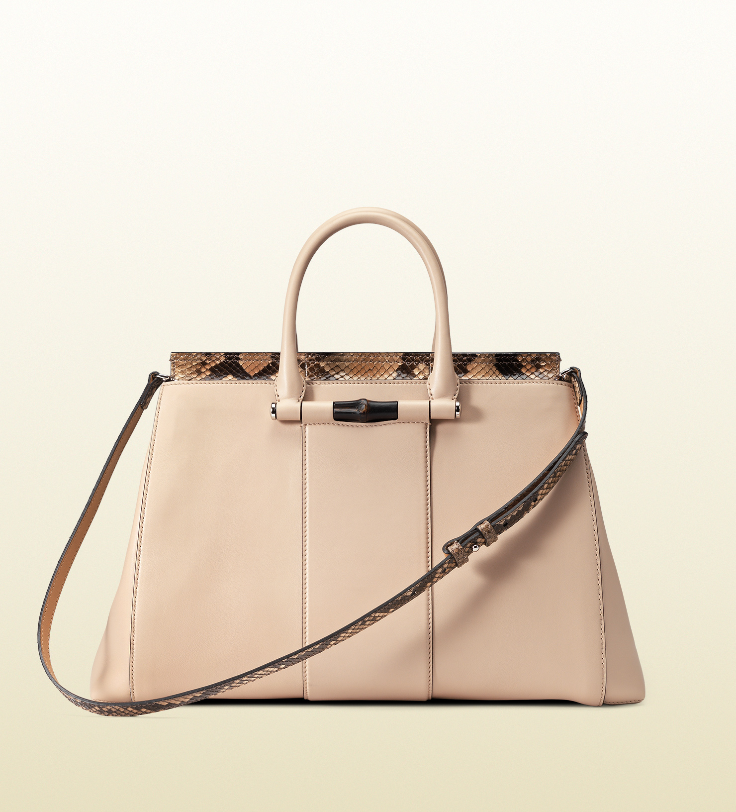 320644b4e5d9 Gucci Lady Bamboo Leather And Python Top Handle Bag in Natural - Lyst