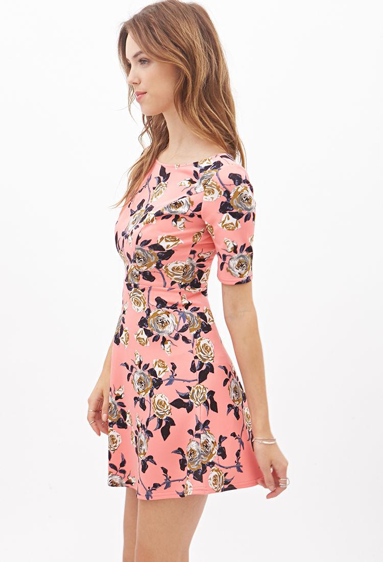 Forever 21 Rose Print Skater Dress in Pink   Lyst