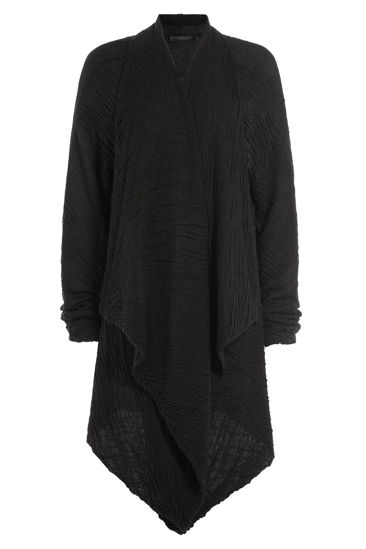 donna karan cashmere silk draped cardigan black in black. Black Bedroom Furniture Sets. Home Design Ideas