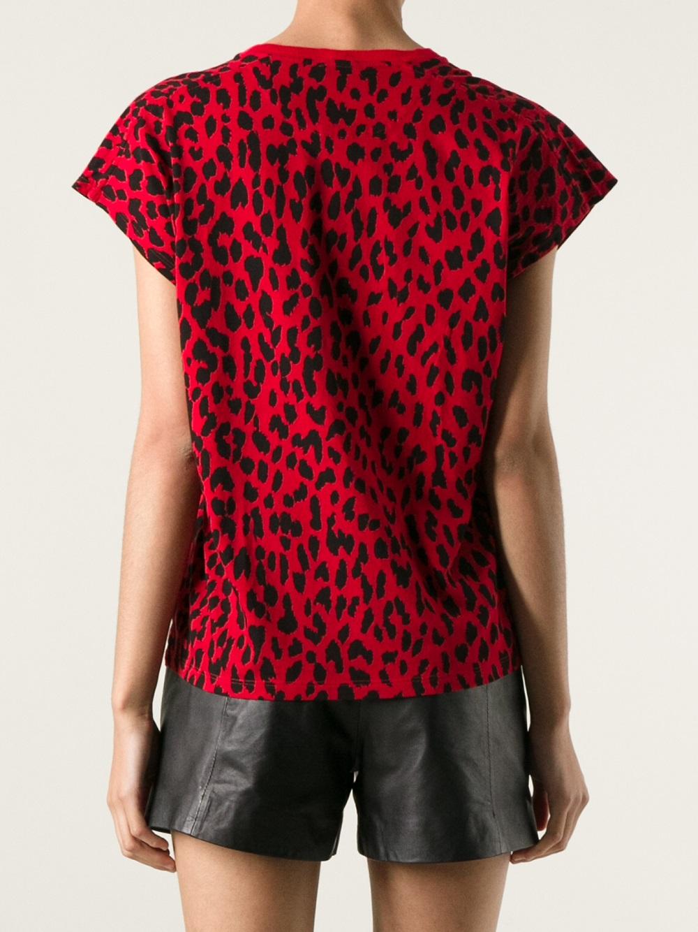 lyst saint laurent leopard print t shirt in red. Black Bedroom Furniture Sets. Home Design Ideas