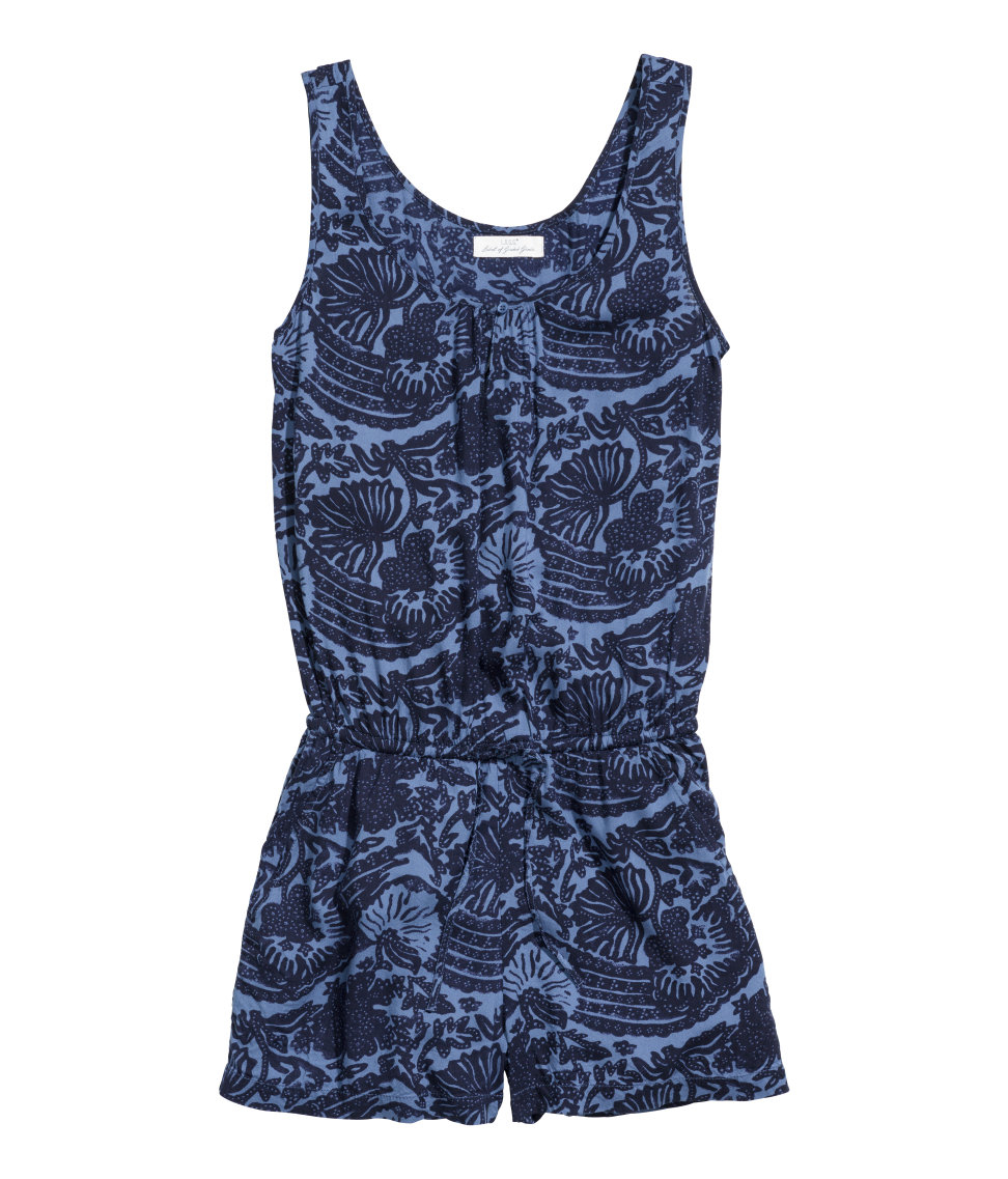 4535bd2c7a31 Lyst - H M Patterned Playsuit in Blue
