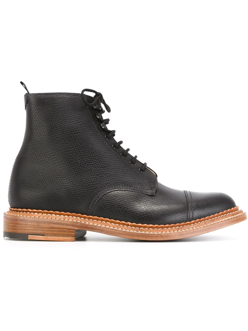 grenson lace up ankle boots in black for
