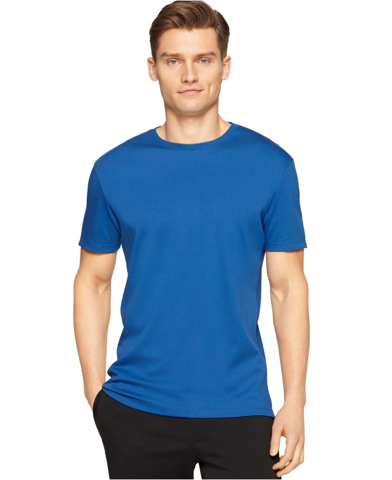 Calvin klein jersey ribbed side inserts t shirt in blue for Mens ribbed t shirts
