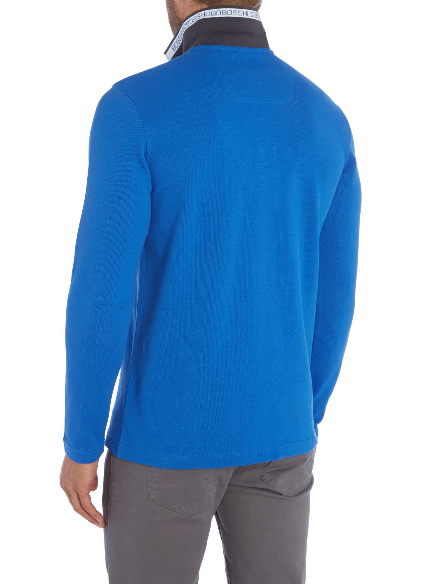 Boss plisy regular fit long sleeve polo shirt in purple for Long sleeve purple polo shirt