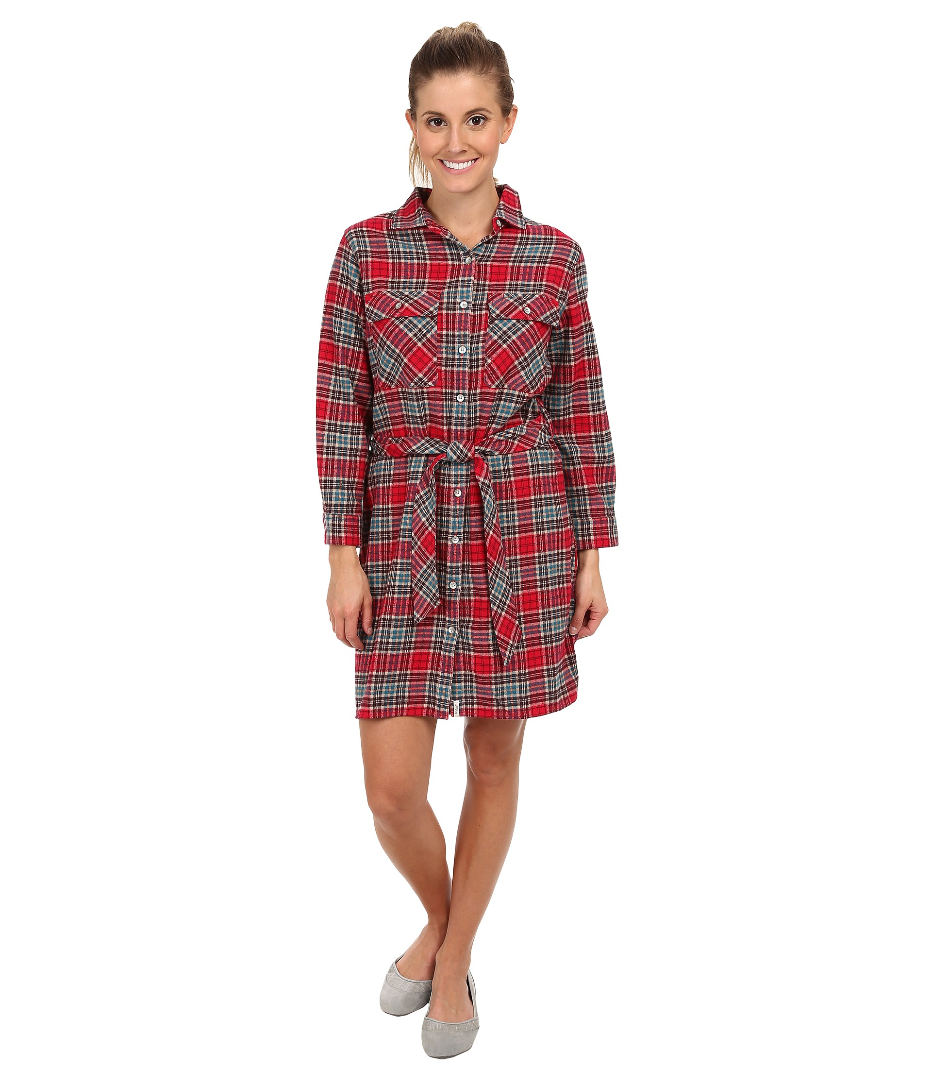 how to wear a flannel shirt with a dress