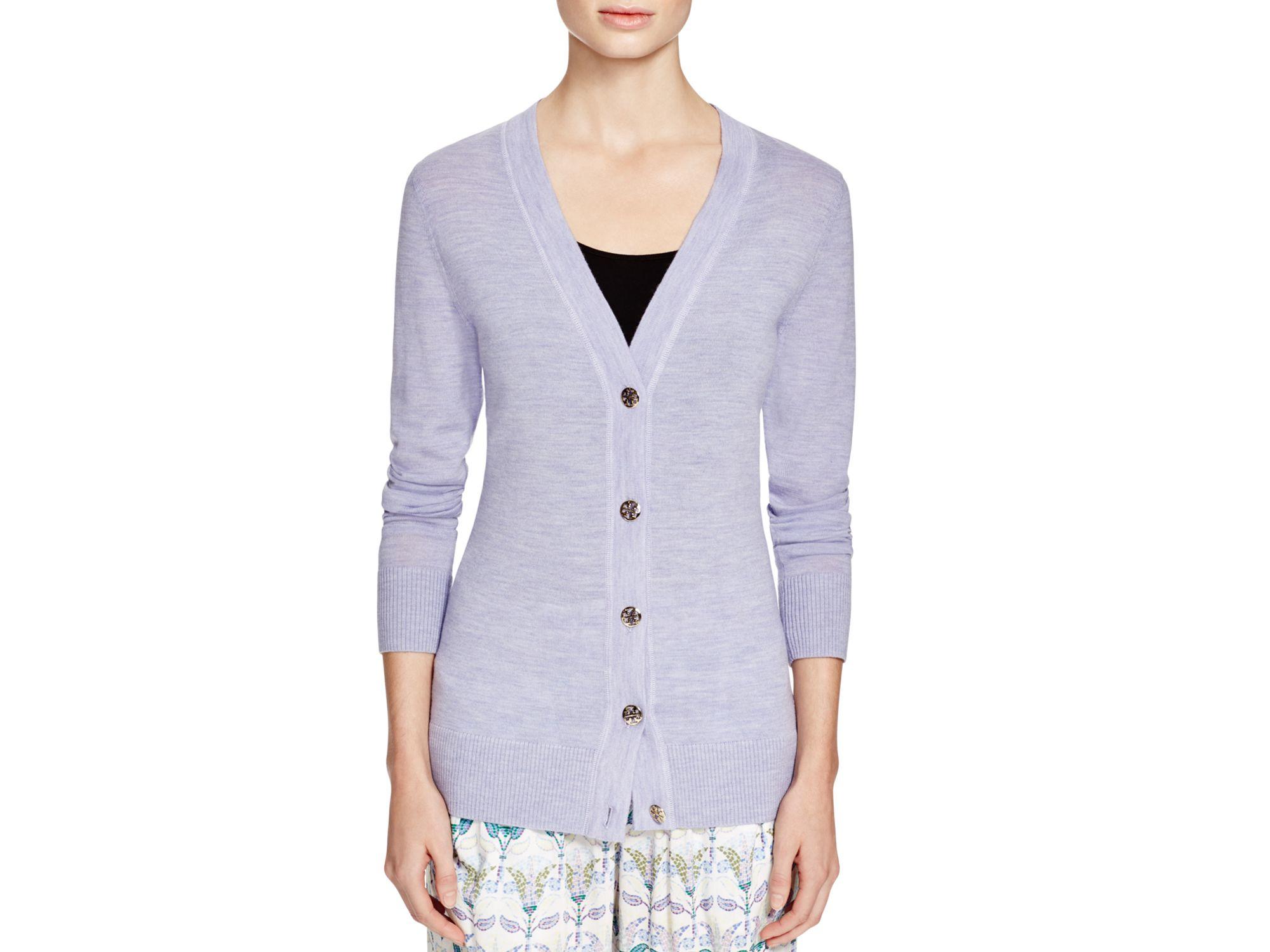 Tory burch Simone Merino Wool Cardigan in Purple | Lyst