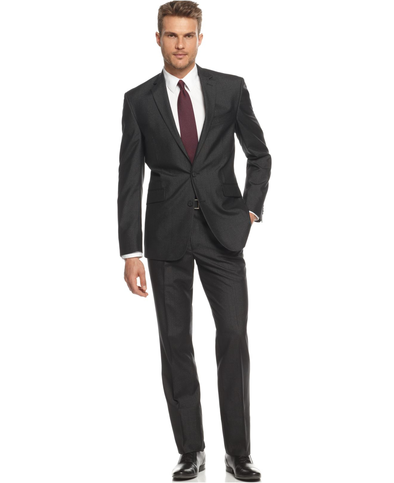 Kenneth cole reaction Mini-check Slim-fit Suit in Black for Men | Lyst