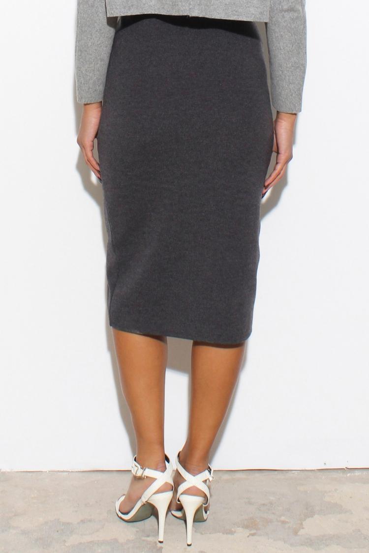 glassworks charcoal front slit midi skirt in gray