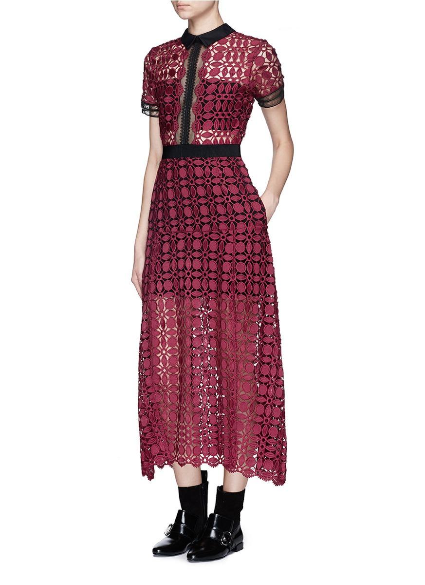 Self Portrait Geometric Lace Midi Dress In Red Lyst