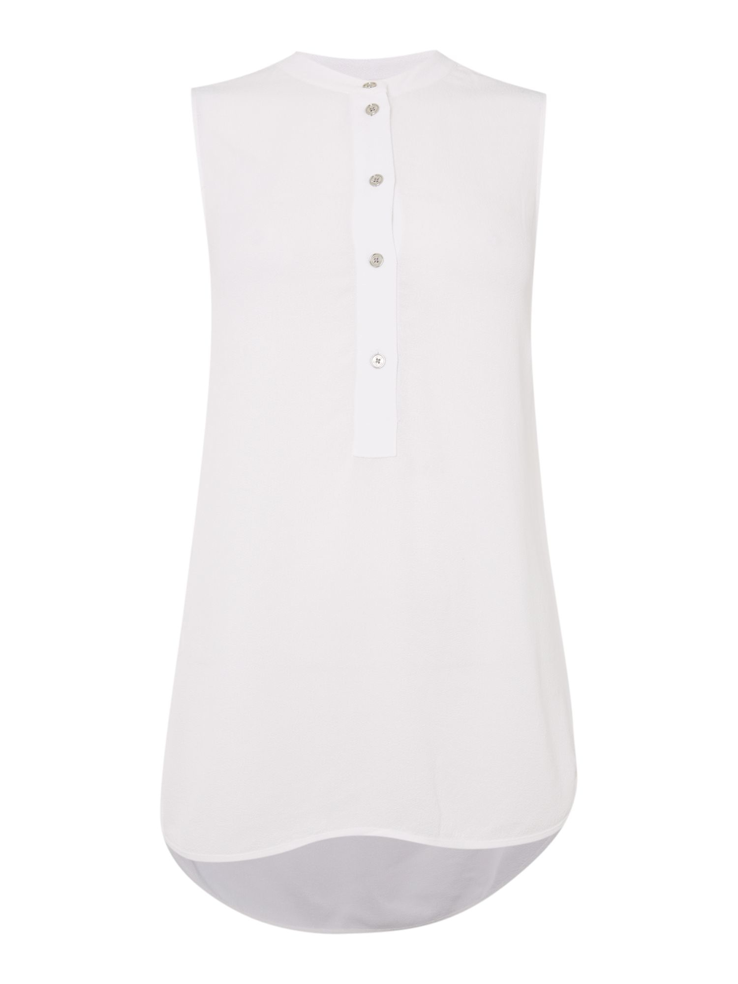 Michael Kors Sleeveless Button Up Shirt In White Lyst