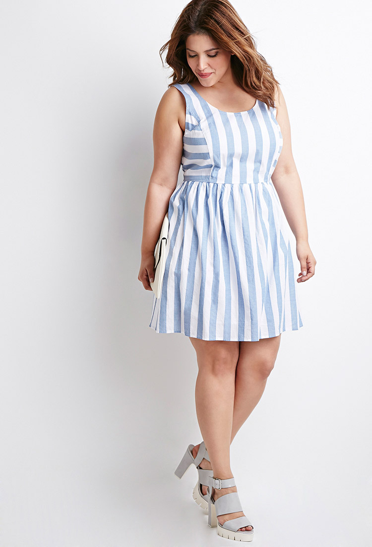Forever 21 Plus Size Striped Fit Amp Flare Dress In Blue Lyst