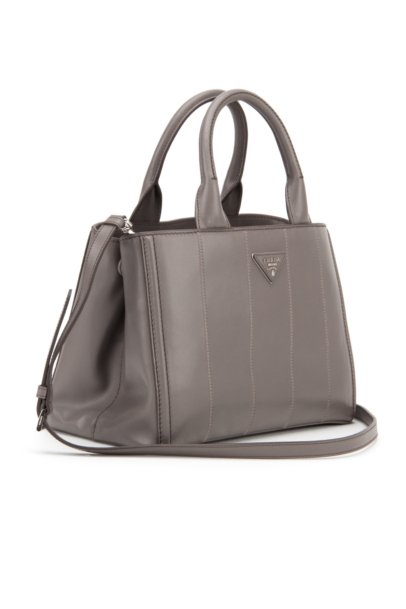 Prada Soft Calf Shopping Bag in Gray (ARGILLA) | Lyst