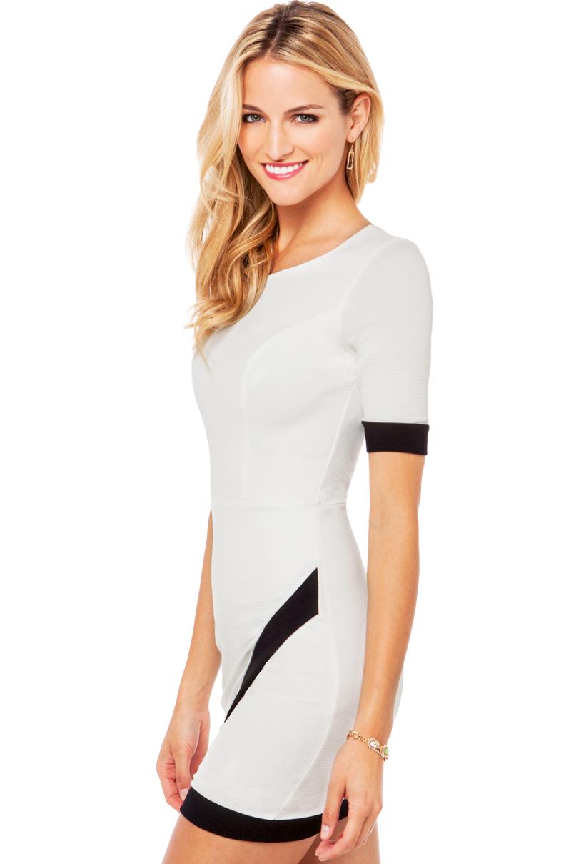 Akira Asymmetrical Contrast Dress In White Lyst