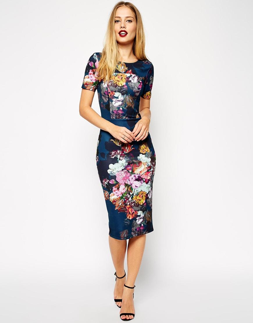 Floral print bodycon dresses