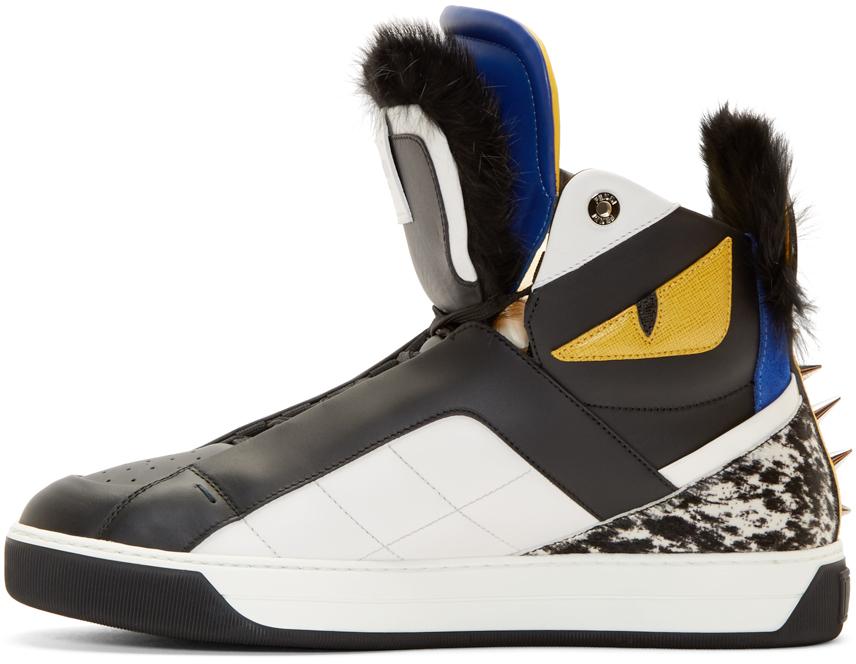87690ba842 Fendi Black Fur Bugs High-top Sneakers for men