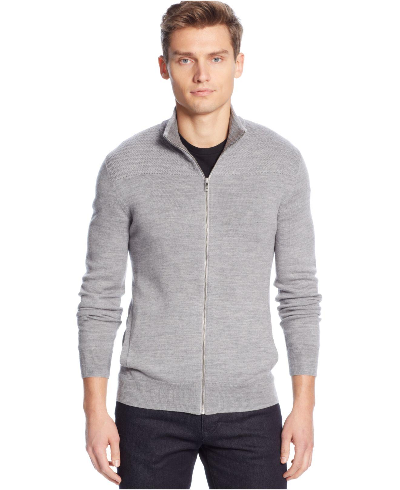 Calvin klein Merino Wool Wave Ribbed Full-Zip Sweater in Gray for ...