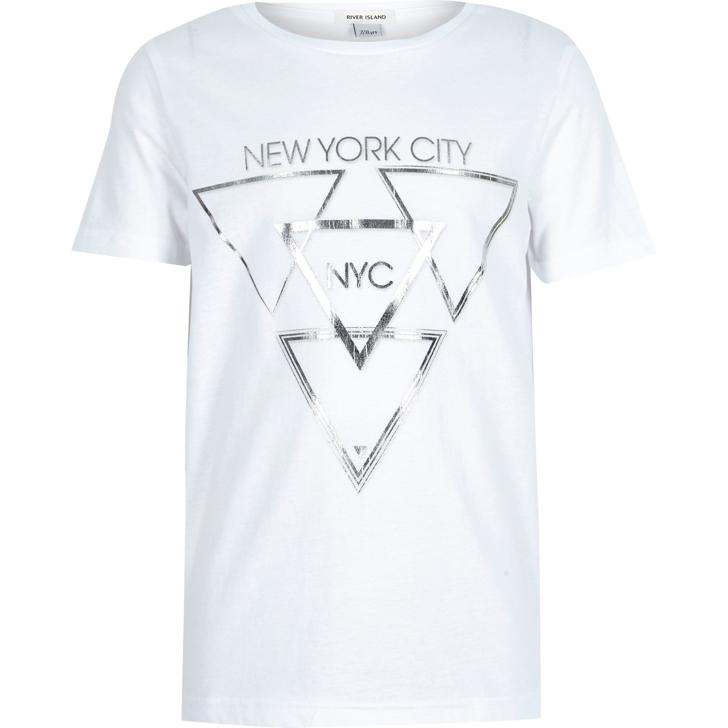 Lyst river island boys white silver foil print t shirt for Silver jeans t shirts